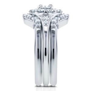 Round Halo Diamond Bridal Set 1 Carat (ctw) in 14k White Gold (3 Piece Set)