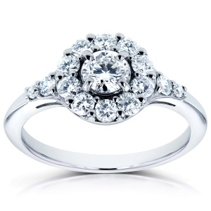 Round Halo Diamond Engagement Ring 3/4 Carat (ctw) in 14k White Gold