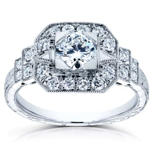 Antique Diamond Fashion Engagement Ring 4/5 CTW in 14k White Gold