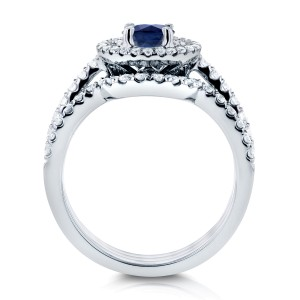 Sapphire and Diamond Double Halo Bridal Set 1 1/5 CTW in 14k White Gold (3 Piece Set)