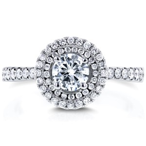 Double Halo Round Diamond Engagement Ring 3/4 CTW in 14k White Gold