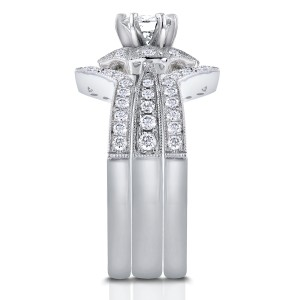 Diamond Starry Milgrain Bridal Set 1 CTW in 14k White Gold (3 Piece Set)