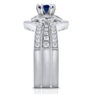 Blue Sapphire Starry Milgrain Bridal Set 1 CTW in 14k White Gold (3 Piece Set)