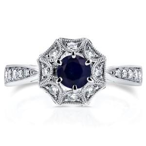 Blue Sapphire Starry Milgrain Engagement Ring 3/4 CTW in 14k White Gold