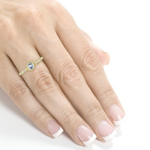 Art Deco Diamond Bezel Engagement Ring 3/4 CTW in 14k Yellow Gold