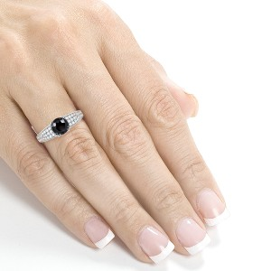 Round Black Diamond Engagement Ring 1 2/5 Carat (ctw) in 14K White Gold