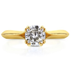 Antique Floral Diamond Engagement Ring 1/2 CTW in 14k Yellow Gold