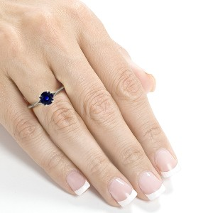 Blue Sapphire and Diamond Engagement Ring 1/2 CTW in 14k White Gold