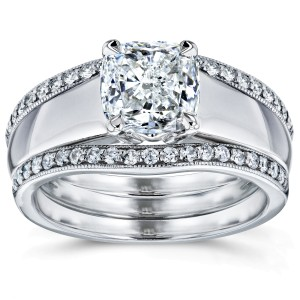 Cushion Diamond Solitaire and Double Bands 3-Piece Bridal Set 1 1/3 CTW in 14k White Gold