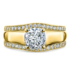 Cushion Diamond Solitaire and Double Bands 3-Piece Bridal Set 1 1/3 CTW in 14k Yellow Gold
