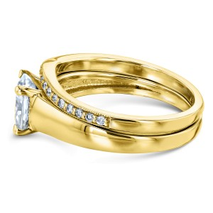 Cushion Diamond Solitaire and Wedding Band Bridal Set 1 1/6 CTW in 14k Yellow Gold