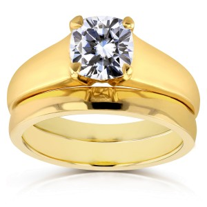 Diamond Classic Solitaire Bridal Set 1 Carat in 14k Yellow Gold