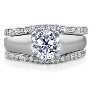 Round Diamond Solitaire and Double Bands 3-Piece Bridal Set 1 1/3 CTW in 14k White Gold