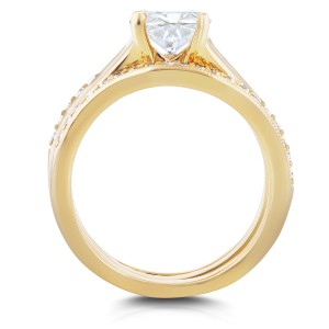 Round Diamond Solitaire and Wedding Band Bridal Set 1 1/6 CTW in 14k Yellow Gold