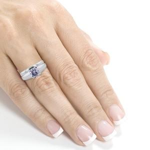 Classic Round Diamond Solitaire Bridal Set 1 Carat in 14k White Gold