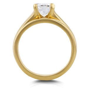 Classic Round Diamond Solitaire Bridal Set 1 Carat in 14k Yellow Gold