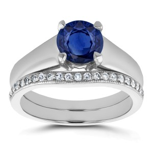 Sapphire Solitaire and Diamond Band Bridal Set 1 2/5 CTW in 14k White Gold