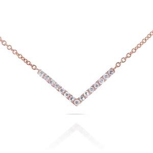 "BCA Round Diamond Chevron V Necklace in 14k Rose Gold (16"" Chain)"