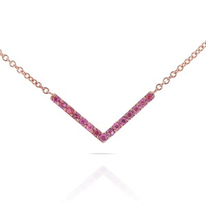 BCA Pink Sapphire Chevron Necklace in 14k Rose Gold