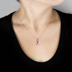 "BCA Pink Sapphire & Diamond ""Fight"" Breast Cancer Awareness Pendant 14k Rose Gold (16"" Chain)"