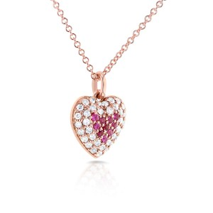 """BCA Pink Sapphire & Diamond Heart Necklace 1/4 CTW in 14k Rose Gold (16"""" Chain)"""