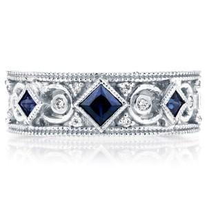 Diamond and Blue Sapphire  Milgrain Band 1/2 CTW in 14k White Gold
