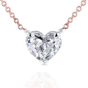 Floating Heart Diamond Necklace 1 CTW in 14K Gold (Certified)