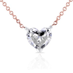 Floating Heart Diamond Necklace 3/4 CTW in 14K Gold (Certified, SI)