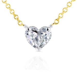 Floating Heart Diamond Necklace 1/2 CTW in 14K Gold (Certified)