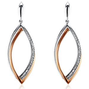 Diamond Dangle Leaf Edge Earrings 1/10 CTW in 10K Rose and White Gold