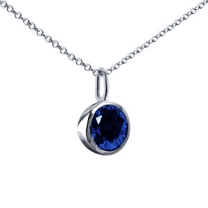 "Blue Sapphire Solitaire Bezel Pendant and Detachable Chain 1 1/4 CTW in 14K White Gold (16"" Chain)"