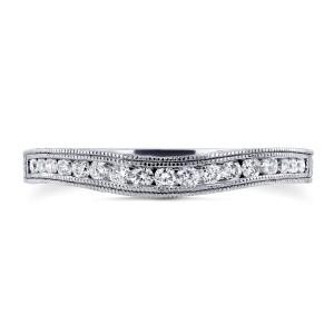 Diamond Contoured Wedding Band Vintage Engravings 1/5ct TDW in 14k White Gold