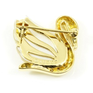 TASAKI 18K Yellow Gold 0.07cts Diamond Shell Swan Bird Pin Brooch CHAT-560