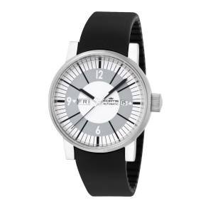 Fortis White Black Silicone Strap 623.10.37 SI.01 Watch