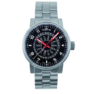 Fortis Black Silver Stainless Steel Bracelet 623.10.51 M Watch