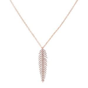 Diamond Dangle Feather Necklace 2/5 CTW 14k Rose Gold