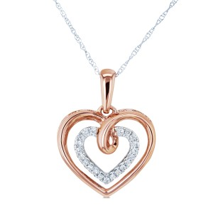 Two Tone Diamond and Gold Hearts Necklace 1/10 CTW 10k Gold 18in