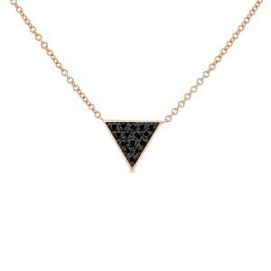 Triangle Black Diamond Necklace 14k Rose Gold