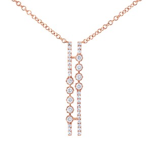 Diamond Parallel Drop Necklace 1/5 CTW 10k Rose Gold, 18in Chain
