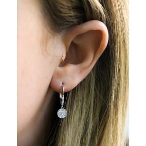 Leverback Pave Diamond Disk Dangle Earrings 10k Gold - white-gold