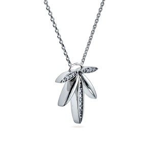 1/15ct Diamond Fanned Lotus Necklace 14k White Gold