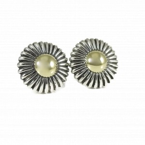 Lagos Vintage Sterling Silver 18K Yellow Gold Round Gold Dome Earrings