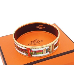 Hermes Gold Tone Metal And Enamel Bangle Bracelet