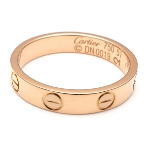Cartier 18K Pink Gold Mini Love Ring Size 5.75