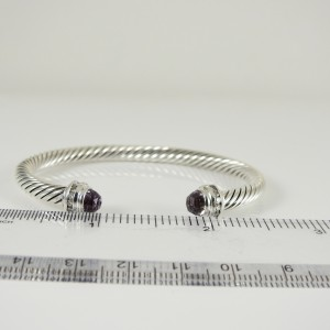 David Yurman Sterling Silver .20tcw 5mm Lavender Amethyst Diamond Princess Bracelet