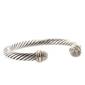 David Yurman Cable Classic Bracelet Sterling Silver with 18K Yellow Gold and Pave Diamonds 7mm