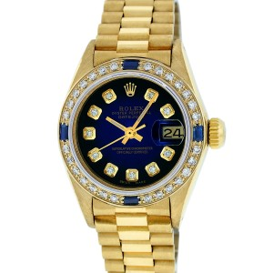 Rolex Datejust President 6917 Blue Vignette Diamond Womens 26mm Watch