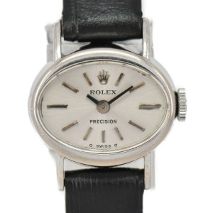 ROLEX Precision 18k WG/Leather Cal1400 Hand Winding Ladies Watch