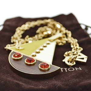 Louis Vuitton Gold Tone Metal And Rhinestone Necklace