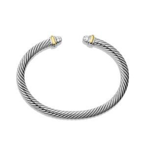 David Yurman 14K Yellow Gold & Sterling Silver 0.16ct Diamond Cable Classics Bracelet
